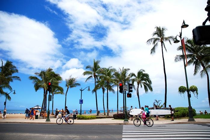 ハワイ,ワイキキ,サイクリング